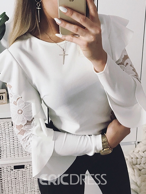 Ericdress Round Neck Patchwork Lace Blouse