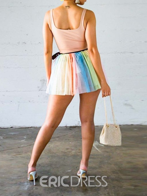 Ericdress Color Block Pleated Skinny Vest And Skirt Two Piece Sets(Without Belt)