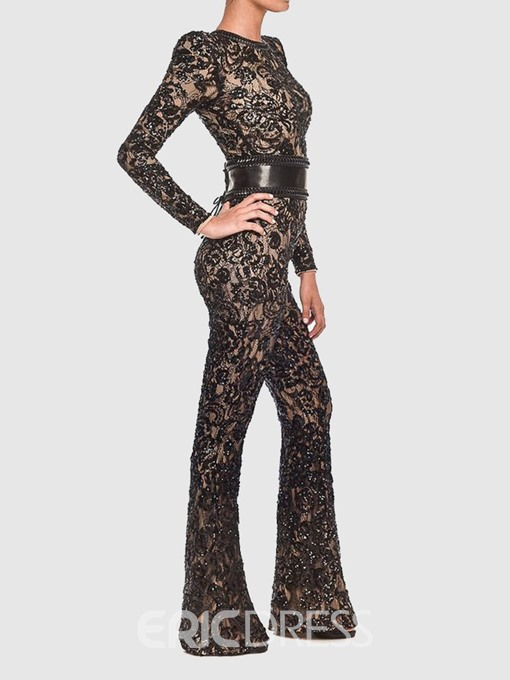 Ericdress Lace Full Length Slim Plain Jumpsuit