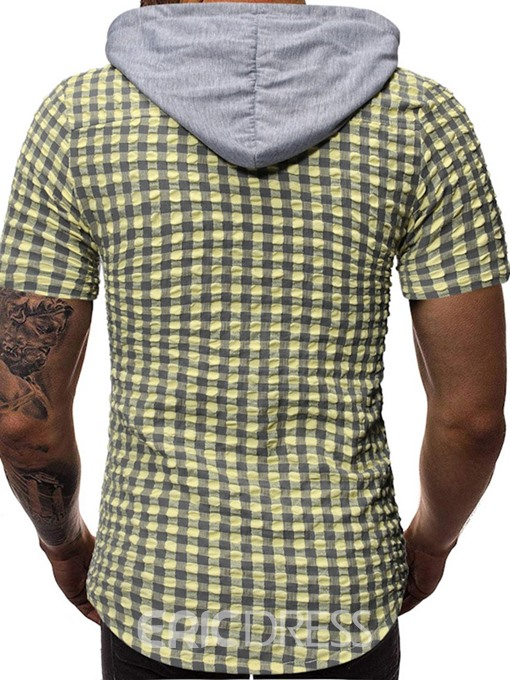Ericdress Hooded Button Casual Summer Mens Shirt