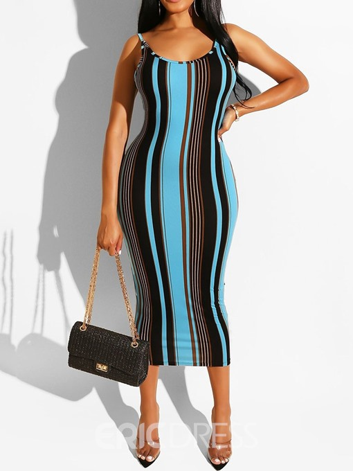 Ericdress Striped Mid-Calf Print Pencil Spaghetti Strap Dress