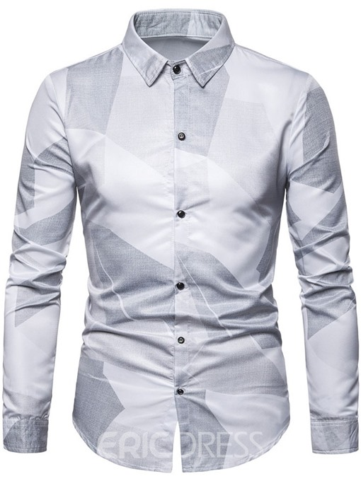 Ericdress Print Lapel Color Block Mens Slim Shirt