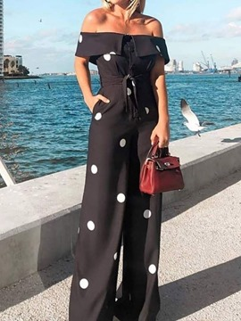 Ericdress Polka Dots Print Lace-Up Wide Legs Slim Jumpsuit