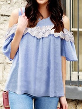 Ericdress Hollow Off-shoulder Lace Blouse
