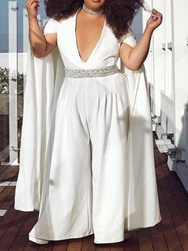 Ericdress Plus-Size Overlay Wide Legs Slim Jumpsuit(Without Belt)
