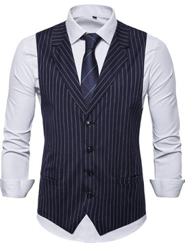 Ericdress Notched Lapel Button Stripe Spring Single-Breasted Mens Waistcoat