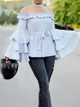 Ericdress Lace-Up Patchwork Ruffle Sleeve Blouse