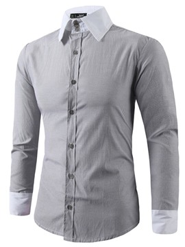 Ericdress Lapel Color Block Button Slim Mens Single-Breasted Shirt
