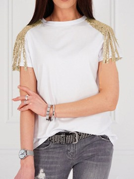 Ericdress Patchwork Round Neck Sequins T-Shirt