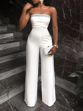 Ericdress Plain Slim Sequins Wide Legs High Waist Jumpsuit