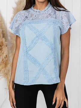 Ericdress Plaid Stand Collar Lace Casual T-Shirt