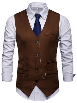 Ericdress Plain V-Neck Chain Casual Mens Spring Waistcoat