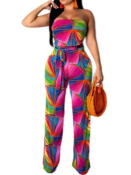Ericdress Print Color Block Loose Lace-Up Skinny Jumpsuit
