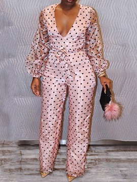 Ericdress Print Polka Dots Slim Straight Jumpsuit