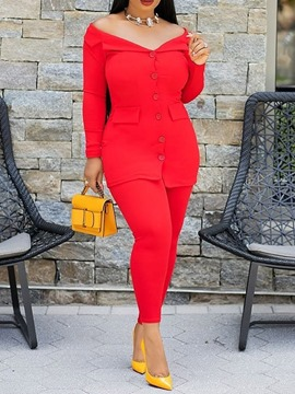 Ericdress Plain Button Off-Shoulder Office Lady Coat And Ankle Length Pants Two Piece Sets