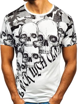Ericdress Skull Round Neck Casual Slim Mens Short Sleeve T-shirt