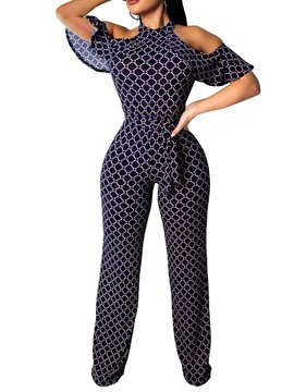 Ericdress Geometric Cold Shoulder Straight Slim Jumpsuit
