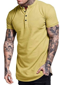 Ericdress Casual Plain Stand Collar Short Sleeve Mens Loose T-shirt