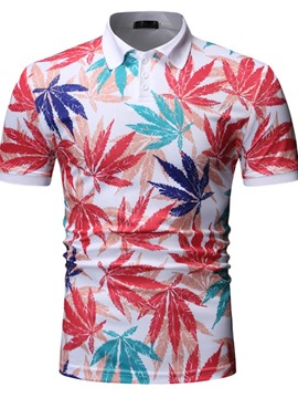 Ericdress Polo Neck Plant Mens Print Shirt