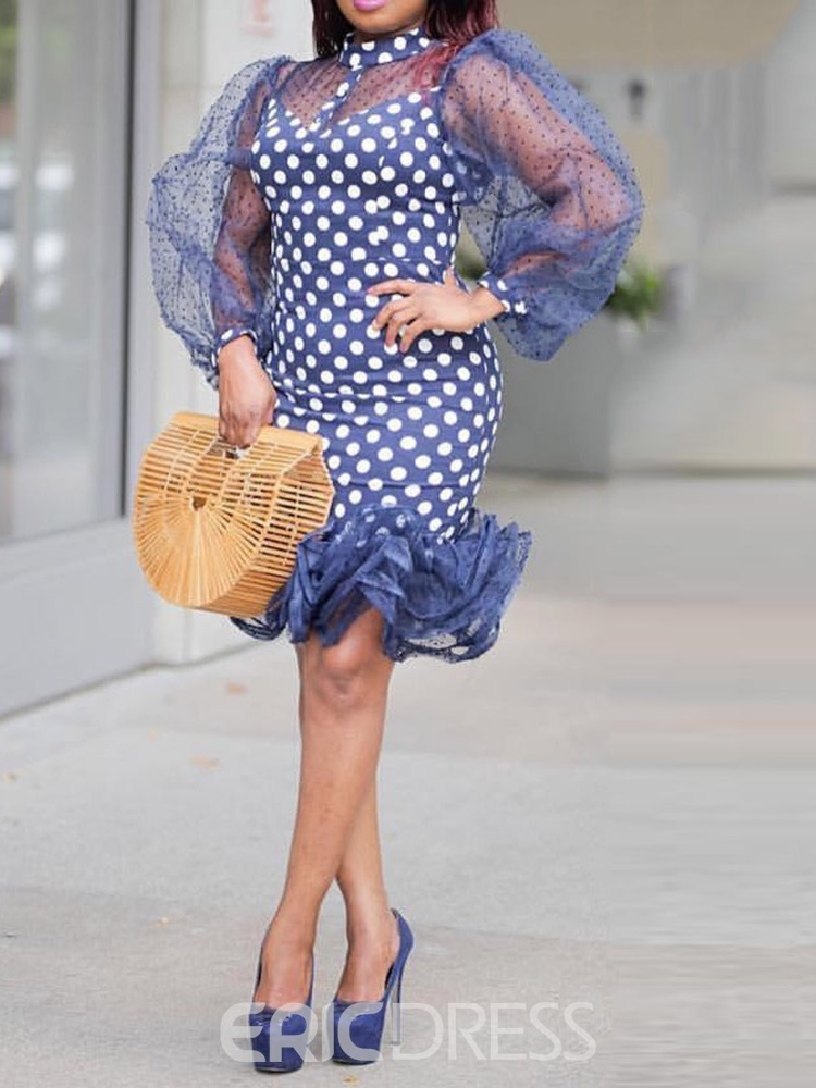 Ericdress Nine Points Sleeve Ruffles Mesh Lantern Sleeve Polka Dots Dress