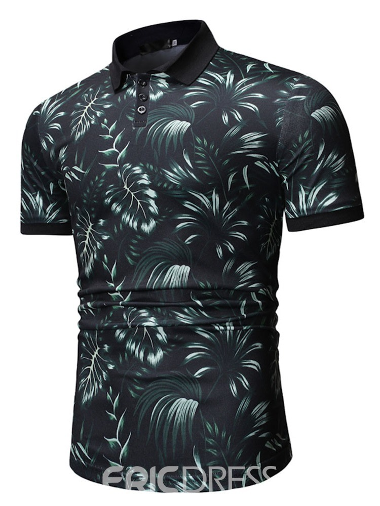 Ericdress Floral Polo Neck Mens Print Shirt
