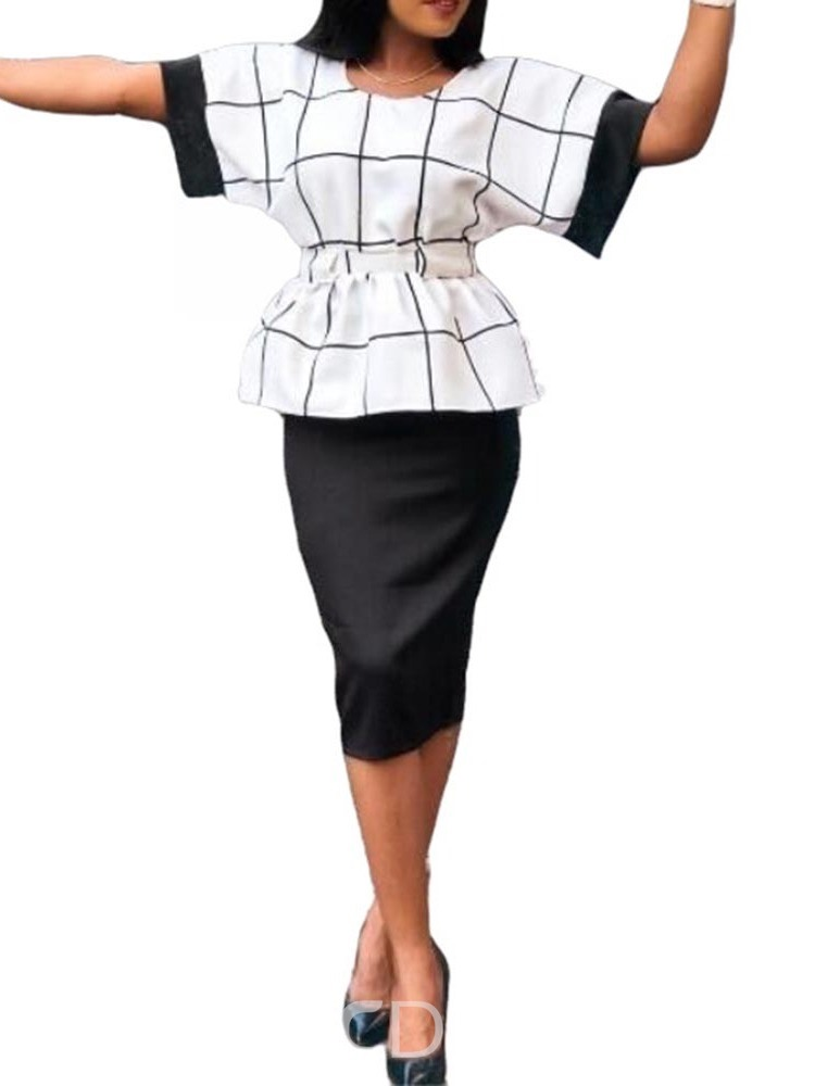 Ericdress Plaid Collect Waist A-Line T-Shirt And Skirt Two Piece Sets