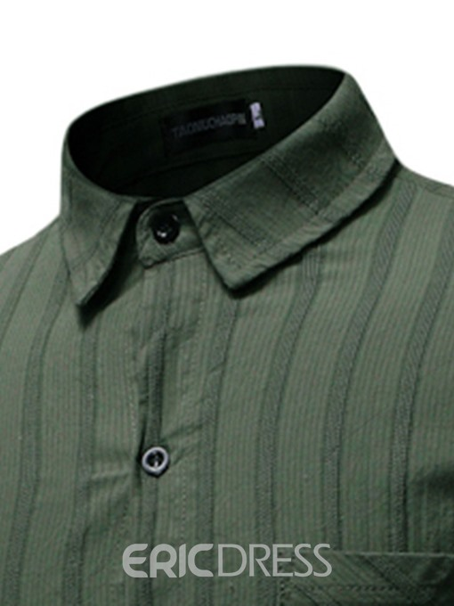 Ericdress Stripe Casual Pocket Single-Breasted Mens Summer Shirt