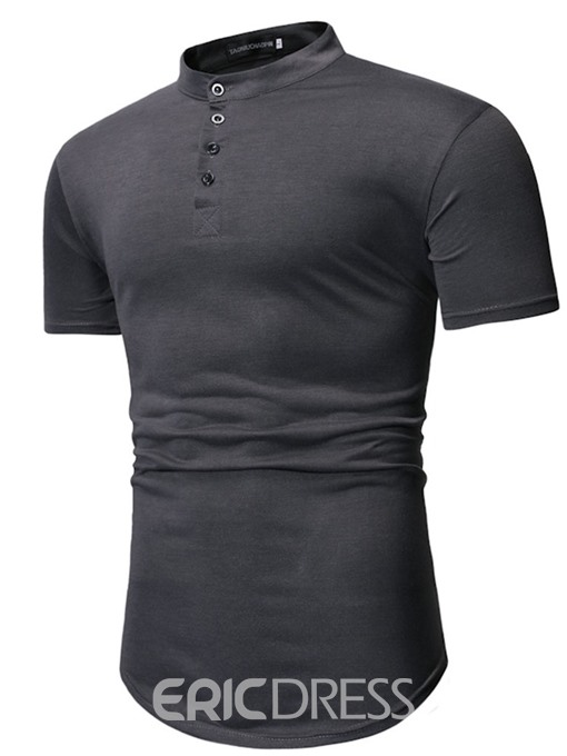 Ericdress Stand Collar Plain Button Mens Slim T-shirt