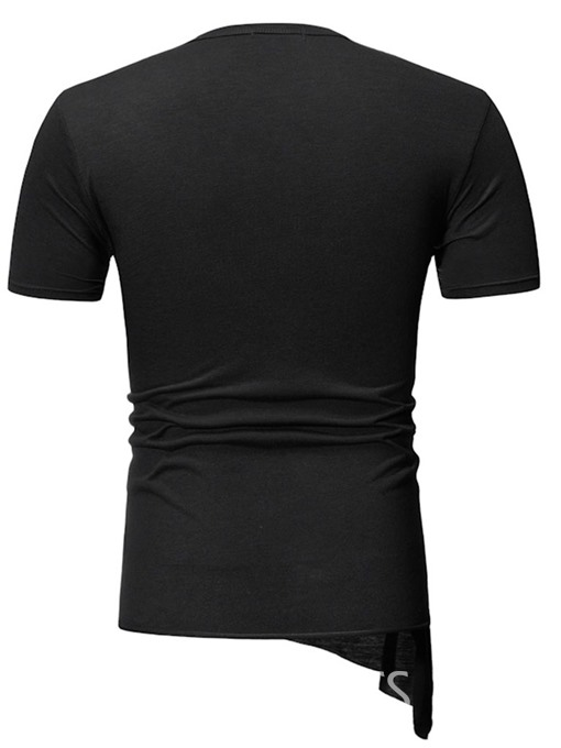 Ericdress Casual Round Neck Asymmetric Mens Slim T-shirt