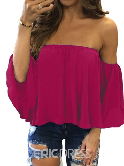 Ericdress Off Shoulder Ruffles Three-Quarter Sleeve Blouse
