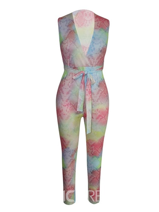 Ericdress Lace-Up Color Block Full Length Straight Skinny Jumpsuit