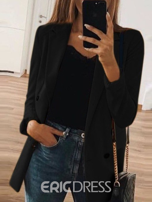 Ericdress Notched Lapel Double-Breasted Plain Office Lady Blazer