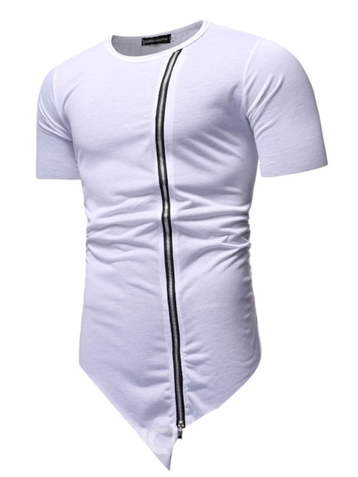 Ericdress Round Neck Casual Asymmetric Short Sleeve Mens Slim T-shirt