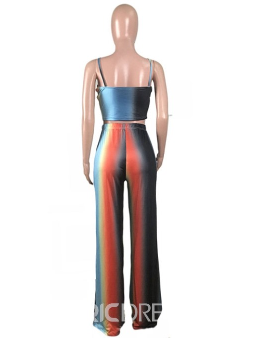Ericdress Color Block Bowknot Straight Skinny Vest And Pants Two Piece Sets