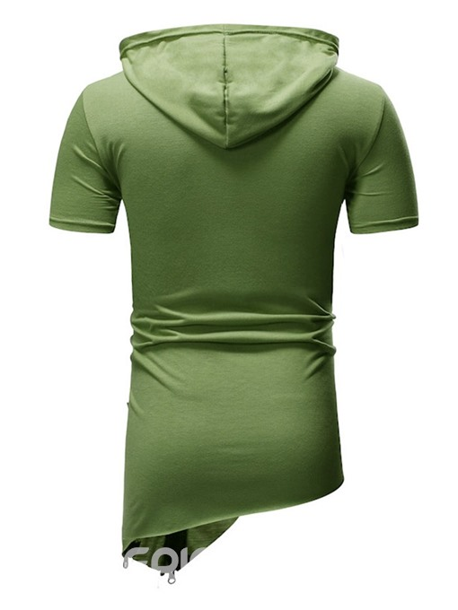 Ericdress Plain Hooded Casual Slim Mens Short Sleeve T-shirt
