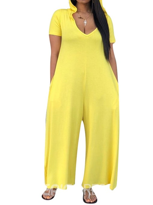 Ericdress Plain Casual Wide Legs Loose Jumpsuit