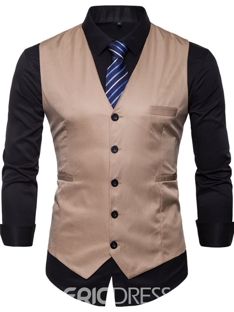 Ericdress V-Neck Plain Button Winter Mens Casual Waistcoat