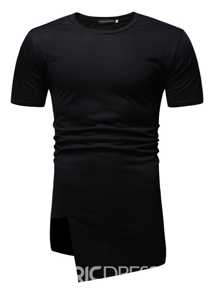 Ericdress Casual Asymmetric Round Neck Short Sleeve Mens Slim T-shirt