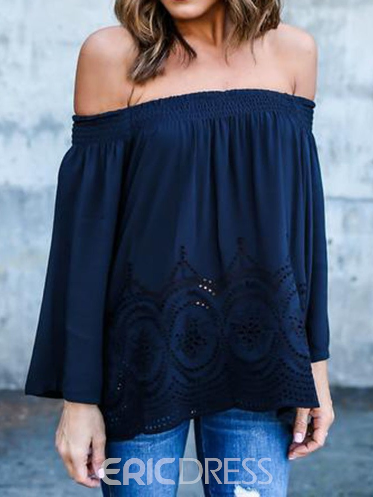 Ericdress Off Shoulder Hollow Casual Blouse
