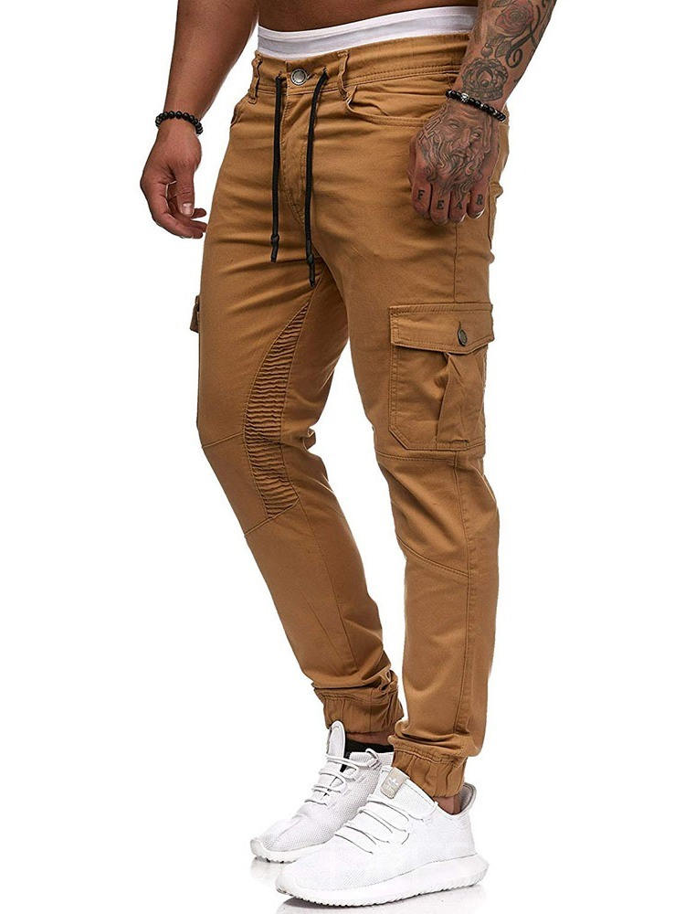 Ericdress Button Plain Overall Lace-Up Four Seasons Mens Casual Pants