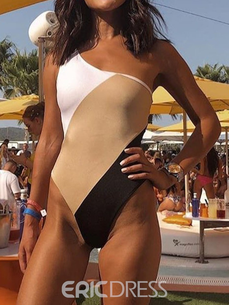 Ericdress Asymmetric Color Block Sexy Swimwear