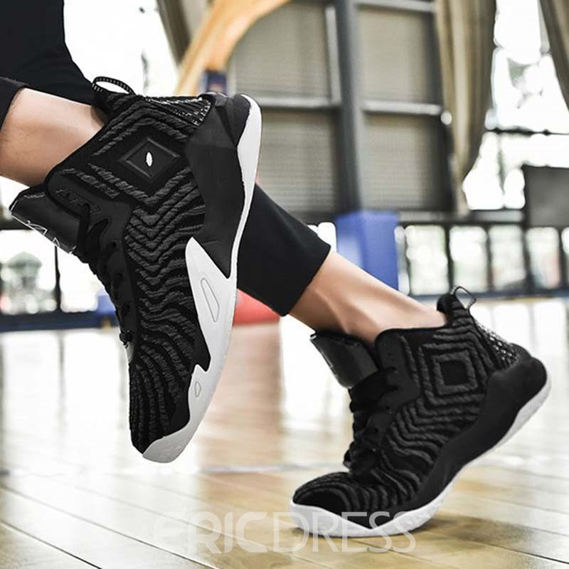 Ericdress Mesh Lace-Up Round Toe Color Block Men's Athletic Shoes