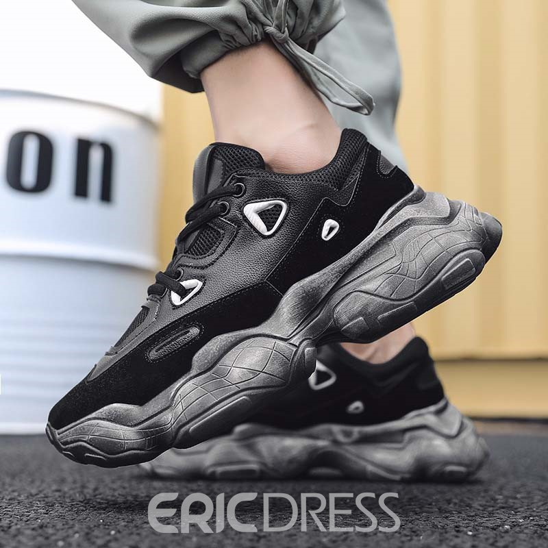Ericdress Mesh Lace-Up Color Block Men's Breathable Sneakers