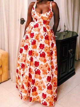 Ericdress African Style Print Sleeveless Floor-Length Dress