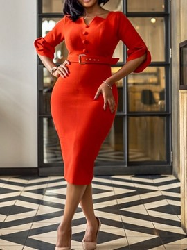 Ericdress Three-Quarter Sleeve Button Plain Bodycon Formal Dress