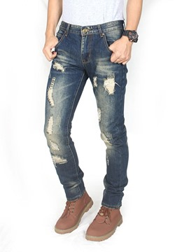Ericdress Button Thin Zipper Denim Mens Casual Jeans