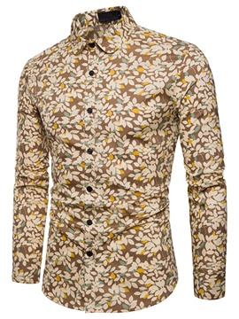 Ericdress Floral Lapel Print Spring Mens Single-Breasted Shirt