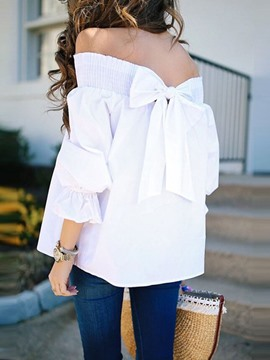 Ericdress Backless Bowknot Three-Quarter Sleeve Blouse