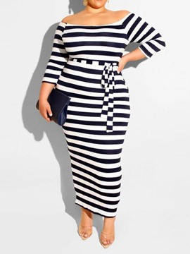 Ericdress Off Shoulder Ankle-Length Lace-Up Stripe Plus Size Dress