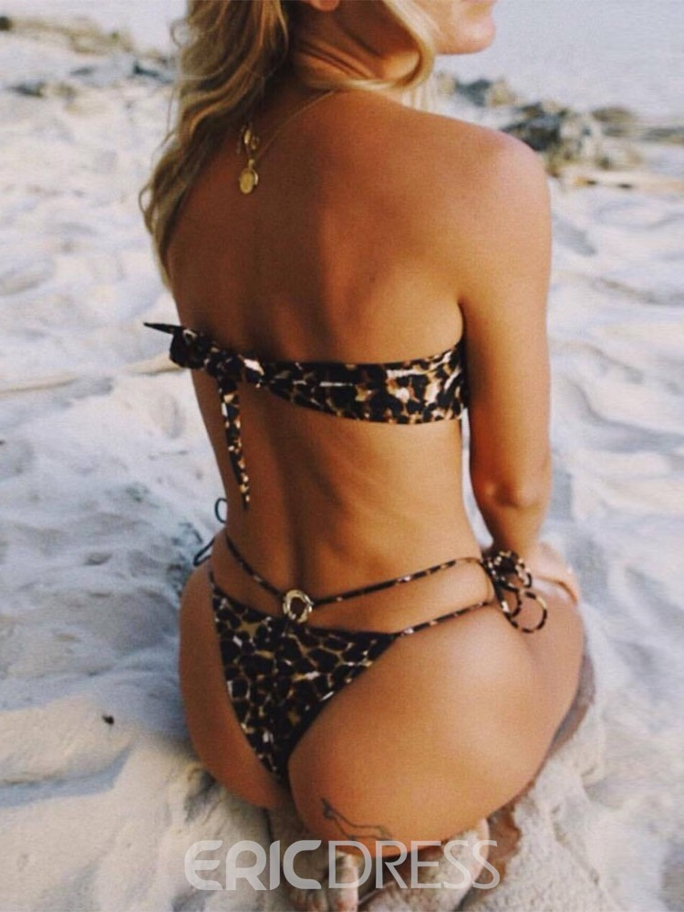 Ericdress Lace-Up Leopard Micro Bikini